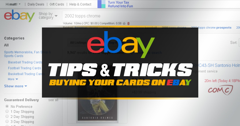 buying your cards on ebay sports and non sports